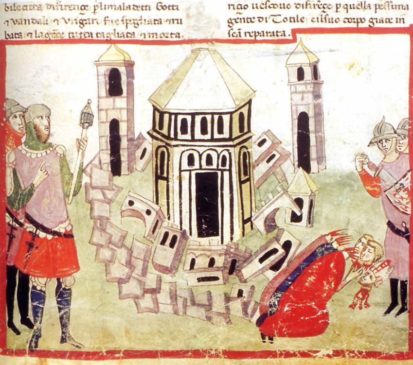 The Goth King Totila razes the walls of Florence during the Gothic War:  illumination from the Chigi manuscript of Villani's Cronica  Florence history; Florence the capital of Tuscany.