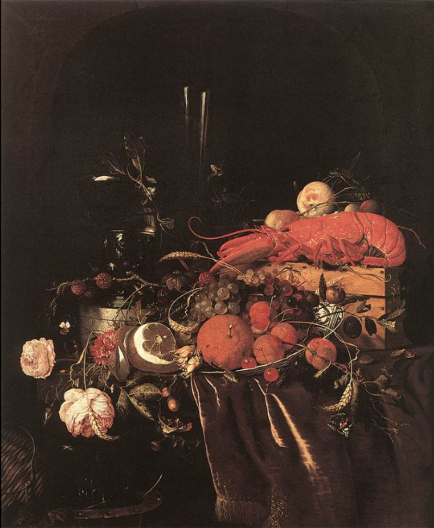 lobster in art still life w fruit flowers glasses and lobster.png