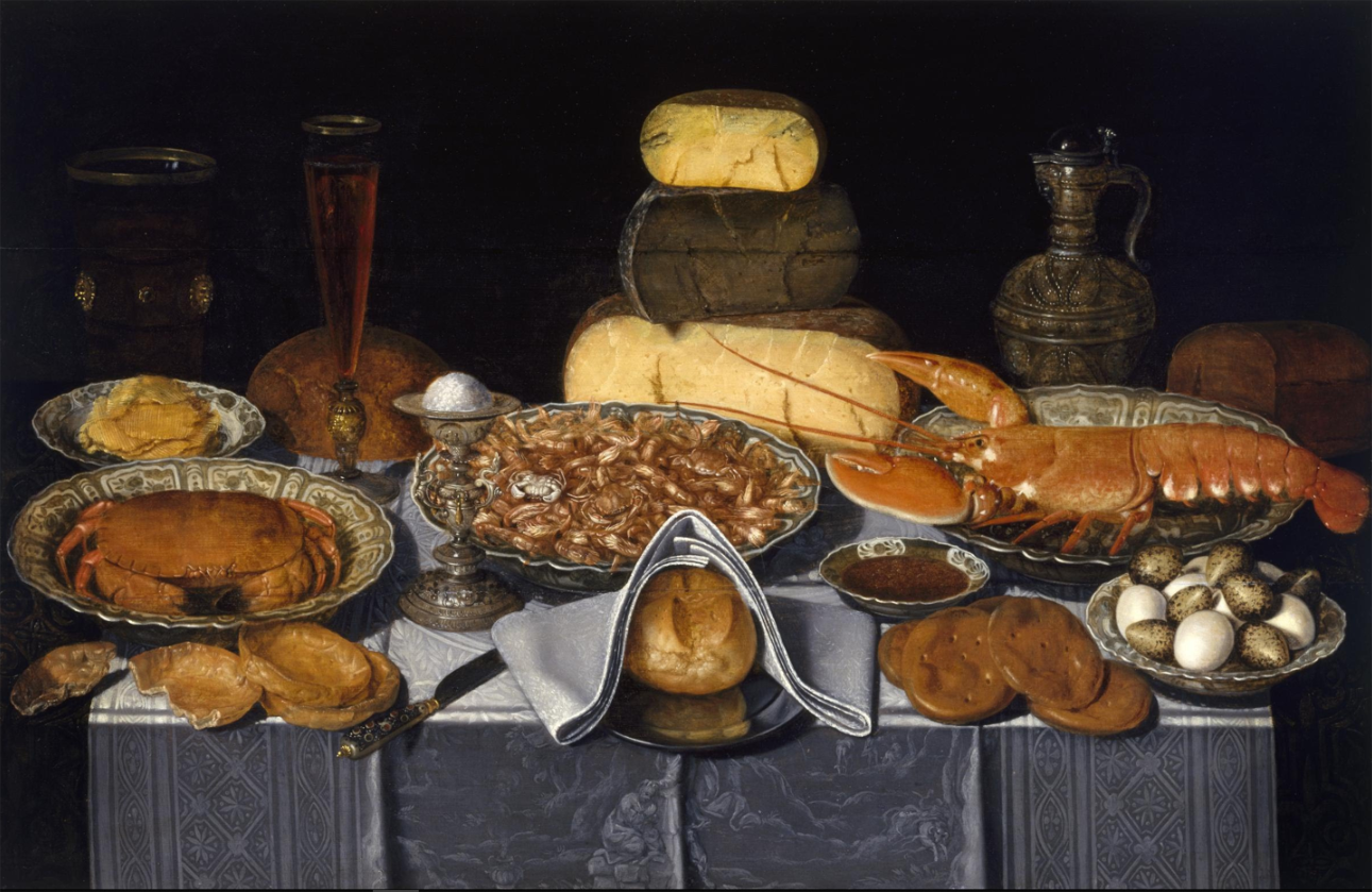 lobster in art Clara Peeters - Still Life with Crab, Shrimps and Lobster .png