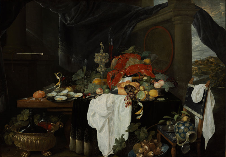 lobster in art Andries Benedetti - A Pronk Still Life with Fruit, Oyters, and Lobsters .png