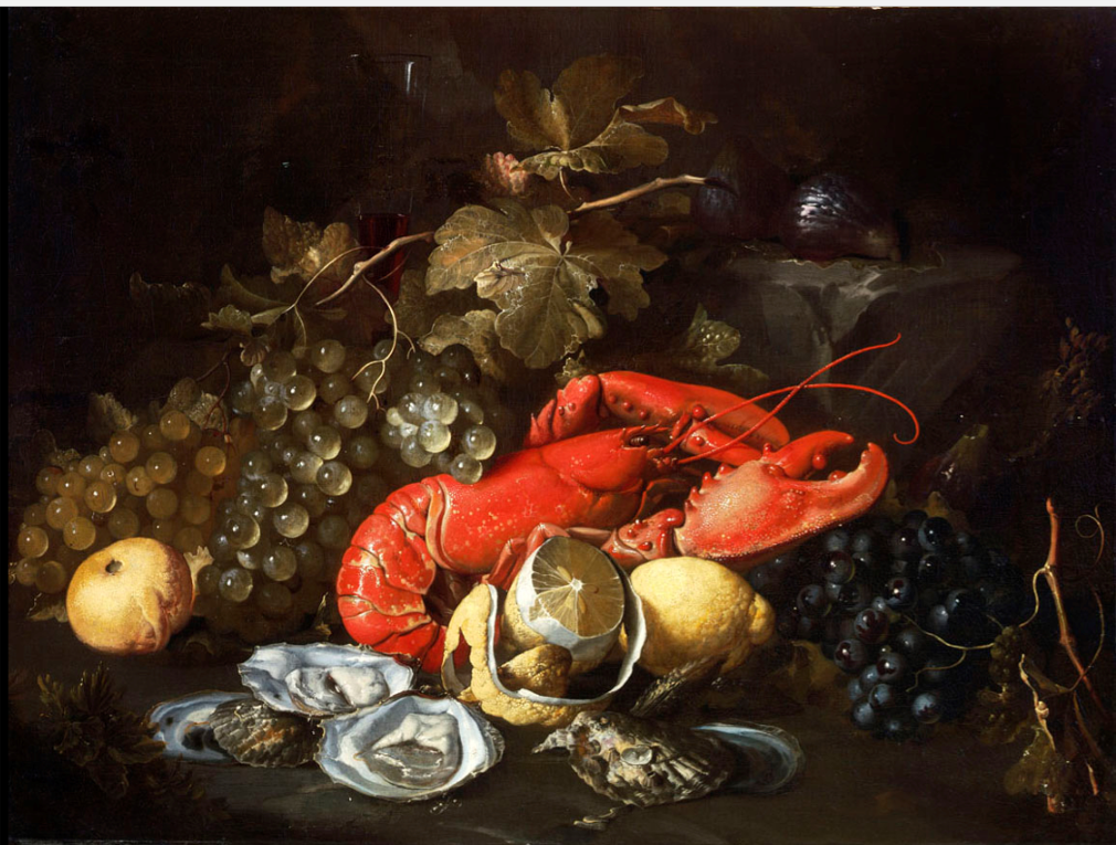 lobsters in art Artistic vision Still Life with Lobster and Oysters by Alexander Coosemans, c. 1660.png