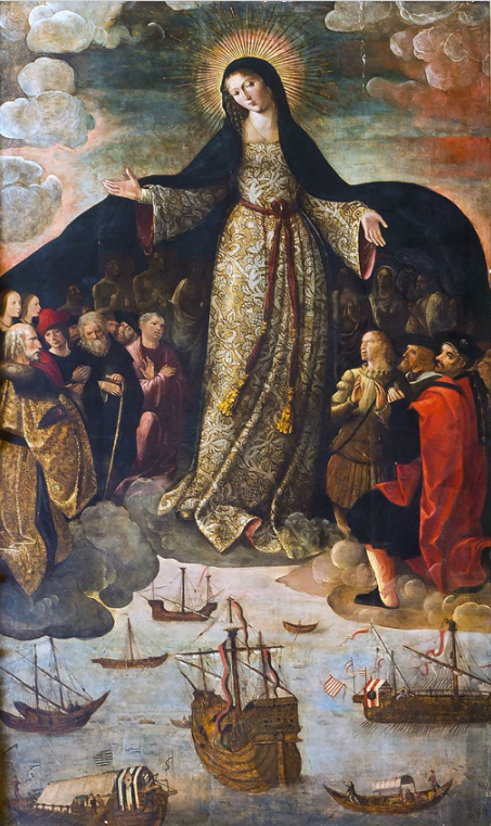 The Virgin of the Navigators by Alejo Fernández, the earliest known painting about the discovery of the Americas, 1531–36.