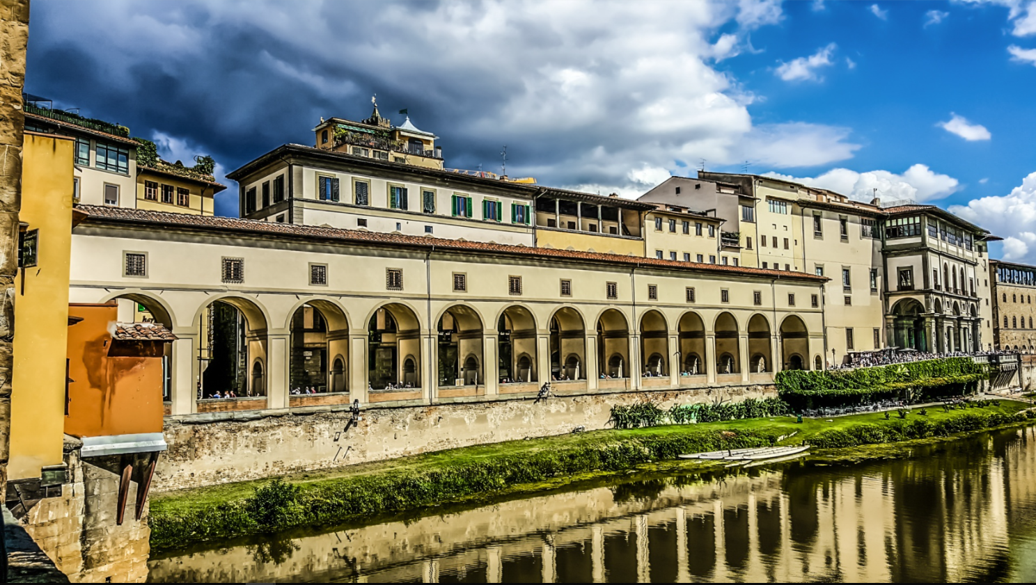 Lovely The Uffizi, from the river.  Courtesy of Wikipedia. No further attribution available.