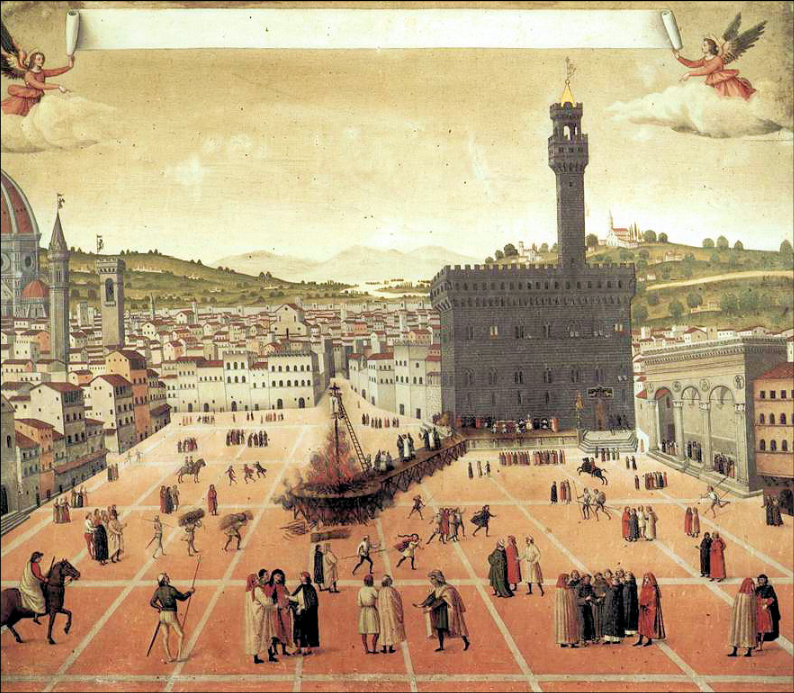 Savonarola's execution in the Piazza della Signoria Painting 1650.  Courtesy of Wikipedia. No further attribution available.