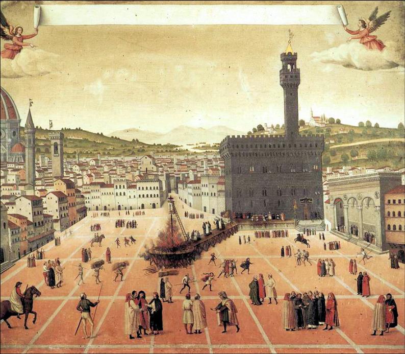 Savonarola's execution in the Piazza della Signoria Painting 1650.  Courtesy of Wikipedia. No further attribution available.