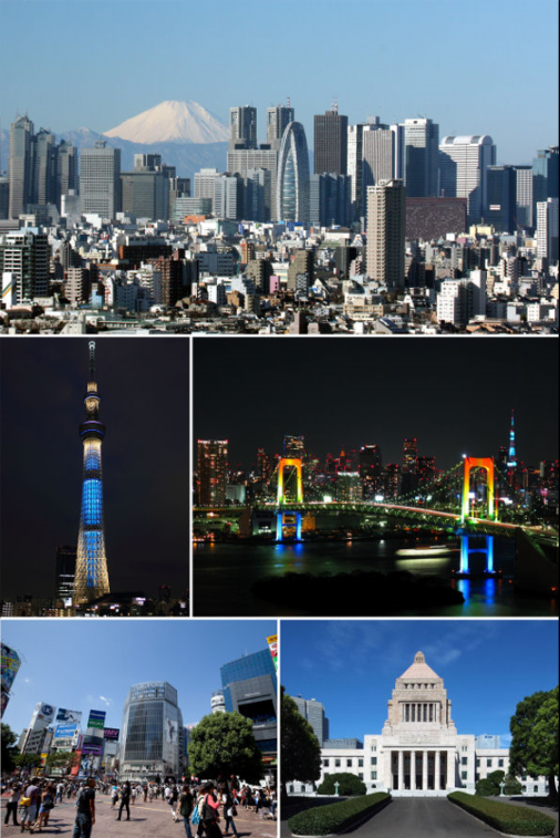 Clockwise from top: Nishi-Shinjuku business district, Rainbow Bridge, National Diet Building, Shibuya, Tokyo Skytree.   Photo from Wikipedia. Hogweard - Skyscrapers of Shinjuku 2009 January.jpg Tokyo Sky Tree at night (Iki).JPG Rainbow colored Rainbow Bridge at night.jpg Front of the Shibuya Station.jpg Diet of Japan Kokkai 2009.jpg  CC BY-SA 3.0