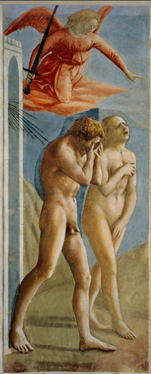 "(Fresco, 208 cm × 88 cm) Brancacci Chapel —  Masaccio's Expulsion of Adam and Eve from Eden, Smarthistory  The Expulsion from the Garden of Eden, depicts a distressed Adam and Eve, chased from the garden by a threatening angel.   Adam covers his entire face to express his shame, while Eve's shame requires her to cover parts of her body.   The fresco had a huge influence on Michelangelo: Masaccio provided a large inspiration to the more famous Renaissance painter, due to the fact that Michelangelo's teacher, Domenico Ghirlandaio, looked almost exclusively to him for inspiration for his religious scenes.   Ghirlandaio also imitated various designs done by Masaccio.   This influence is most visible in Michelangelo's ""The Fall of Man and the Expulsion from the Garden of Eden"" on the ceiling of the Sistine Chapel.  There are many possible sources of inspiration Masaccio may have drawn from. For Adam, possible references include numerous sculptures of Marsyas (from Greek Mythology) and certain crucifix done by Donatello.   For Eve, art analysts usually point to different versions of Venus Pudica, such as Prudence by Giovanni Pisano.  The strong plasticity of the bodies, especially that of Adam, gives a consistence never seen before, with shadows projected by the violent light that strikes from the upper right.   Their figures show a thorough knowledge of anatomy (as detailed by Adam's contracted belly); the bodies are so deliberately massive, ugly, realistic, with some errors (such as Adam's ankle) that only increase the expressive immediacy of the whole.   Adam is curved, his head bent forward anxiously, walking in the barren desert of the world.   The gestures of the two are essential and contained, yet full of expression, where references to the old and the real are intertwined with a deep psychological analysis of man.   Masaccio's painting is sober and realistic, with a powerful use of chiaroscuro which models and describes with simplicity the essential elements of the figures.  Three centuries after the fresco was painted, Cosimo III de' Medici, in line with contemporary ideas of decorum, ordered that fig leaves be added to conceal the genitals of the figures.   These were eventually removed in the 1980s when the painting was fully restored and cleaned.  Masaccio - Original source: http://www.aparthistory-design.com/16th_Century_Art_Northern_Europe_Spain.html 2005-08-25 (original upload date)   Original uploader was Grw at cs.wikipedia   Transferred from cs.wikipedia; transfered to Commons by User:Sevela.p using CommonsHelper."