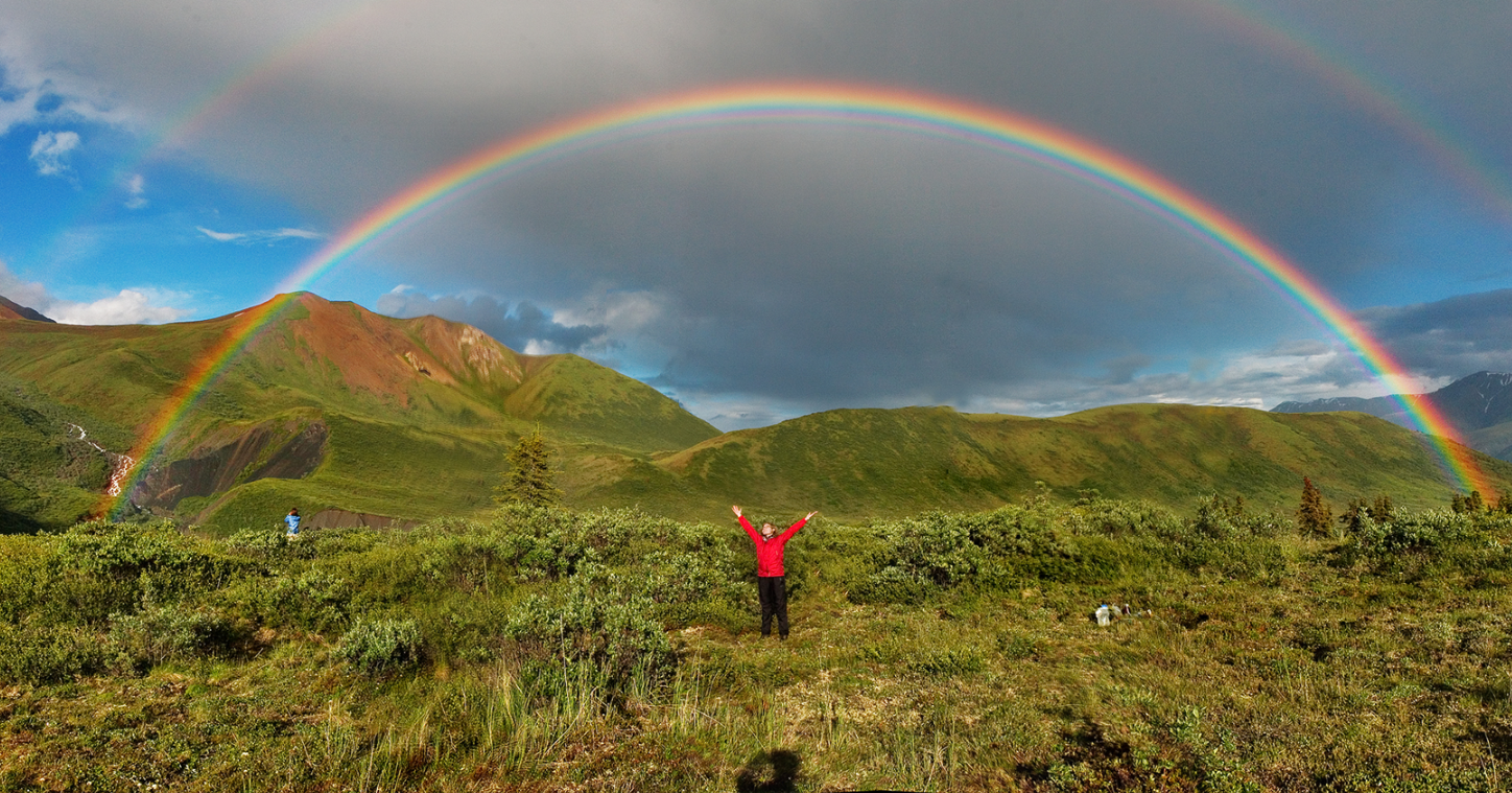 Double rainbow and supernumerary rainbows on the inside of the primary arc. The shadow of the photographer's head on the bottom marks the centre of the rainbow circle (antisolar point). Full featured double rainbow in Wrangell-St. Elias National Park, Alaska.  Photo compliments of Wikipedia from the public domain. Eric Rolph at English Wikipedia - English Wikipedia