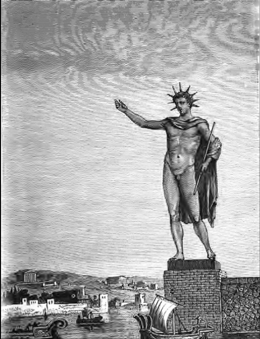 The Colossus of Rhodes, as depicted in an artist's impression of 1880    gravure sur bois de Sidney Barclay numérisée Google - ouvrage Voyage aux Sept merveilles du monde Augé de Lassus  Le colosse de Rhodes, selon gravure du XIXè siècle  The Colossus of Rhodes was a statue of the Greek sun-god Helios, erected in the city of Rhodes, on the Greek island of the same name, by Chares of Lindos in 280 BC.     One of the Seven Wonders of the Ancient World, it was constructed to celebrate Rhodes' victory over the ruler of Cyprus, Antigonus I Monophthalmus, whose son Demetrius I of Macedon unsuccessfully besieged Rhodes in 305 BC.     According to most contemporary descriptions, the Colossus stood approximately 70 cubits, or 33 metres (108 feet) high—the approximate height of the modern Statue of Liberty from feet to crown—making it the tallest statue of the ancient world.    It collapsed during the earthquake of 226 BC; although parts of it were preserved, it was never rebuilt.