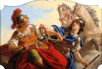 Bellona hands Mars his reins   Artist: Louis Jean Francois Lagrenée  Wikimedia