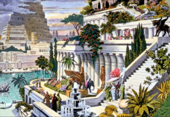 This hand-coloured engraving, probably made in the 19th century after the first excavations in the Assyrian capitals, depicts the fabled Hanging Gardens, with the  Tower of Babel  in the background.   Maarten van Heemskerck  -  http://www.plinia.net/wonders/gardens/hgpix1.html