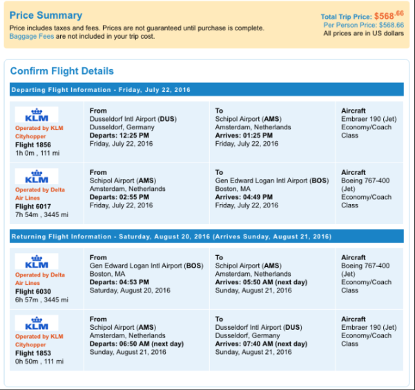 Sample plane ticket that I reconfigured for ease of use and improved understanding.