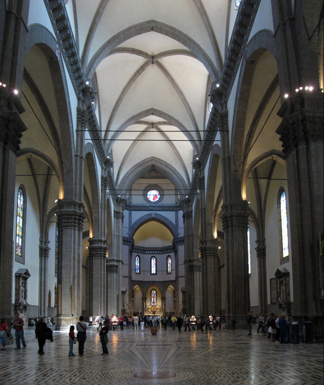 Visitors will certainly spend time inside the basilica. This is the interior of the Cattedrale di Santa Maria del Fiore   Gryffindor  -  Image:Duomo Firenze Apr 2008 (21).JPG ,  Image:Duomo Firenze Apr 2008 (20).JPG ,  Image:Duomo Firenze Apr 2008 (17).JPG