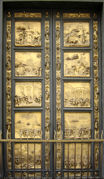 Ghiberti's bronze doors Dubbed Gates of Paradise  by Michelangelo Binoculars are even useful to view the details of the fairly close doors.  Ricardo André Frantz ( User:Tetraktys ) - taken by Ricardo André Frantz