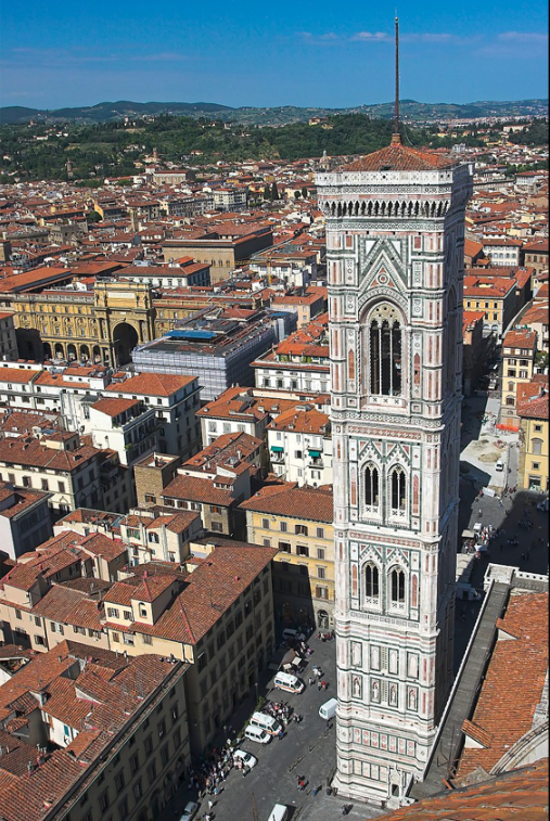 Giotto's bell tower seen from the top of the  Duomo .  Thermos - Own work