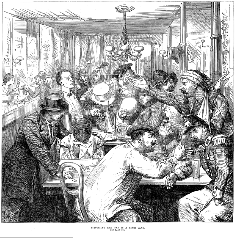 """""""Discussing the  War  in a  Paris  Café"""",   The Illustrated London News   17 September 1870   Fred Barnard  - Illustrated London News"""
