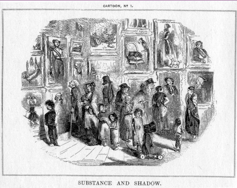 """John Leech, Cartoon no.1: Substance and Shadow, 1843, satirized preparatory cartoons for frescoes in the Palace of Westminster, creating the modern meaning of """"cartoon"""""""
