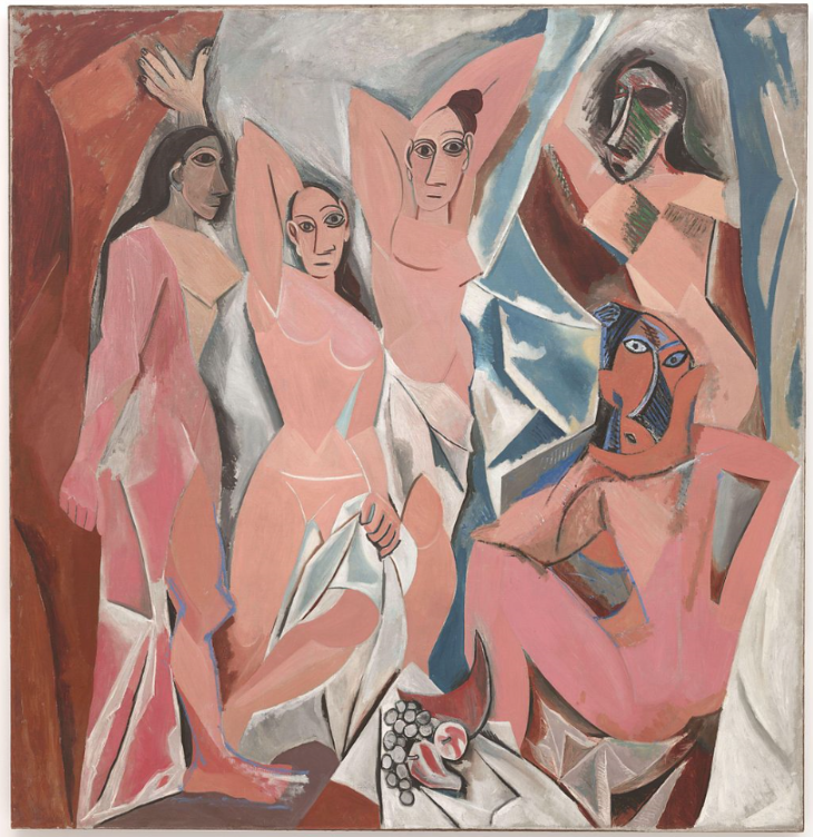 Les Demoiselles d'Avignon, oil on canvas, 244 x 234 cm  Pablo Picasso - Museum of Modern Art, New York   Year  1907  Medium  Oil on canvas  Dimensions  (96 in × 92 in) Not shown publicly until 1916