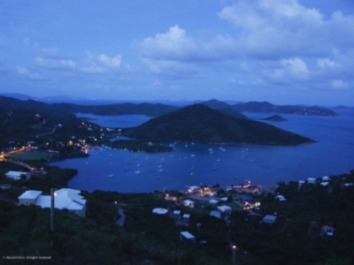 Coral Bay, St.John, USVI, from Steve and Mikki's deck, late afternoon, November 2004. Those lights down below show where the bars were.