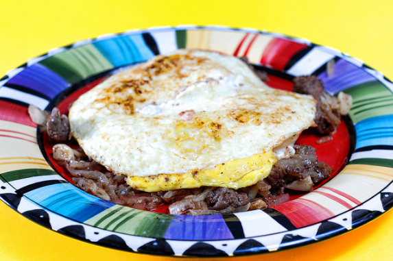Add some potatoes and we have a quick roast beef hash.