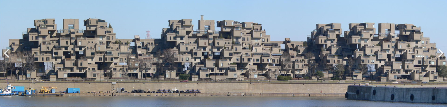 Habitat 67 in Montreal, Quebec, Canada, is a Brutalist building. Vassgergely at the English language Wikipedia