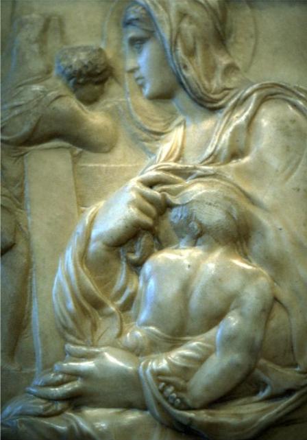 Detail Top left of the image is John the Baptist.  Madonna della scala, by Michelangelo, Florence, Casa Buonarotti Michelangelo - www.akg-images.co.uk/.../ rabattidomingie.html