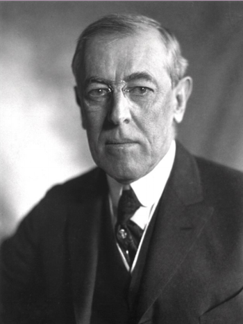 Portrait of Woodrow Wilson.   Derived from File:President Wilson 1919.tif Soerfm - Own work