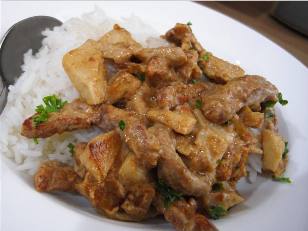 Beef Stroganoff is a Russian dish of sautéed pieces of beef served in a sauce with smetana (sour cream). From its origins in mid-19th-century Russia, it has become popular around the world, with considerable variation from the original recipe.