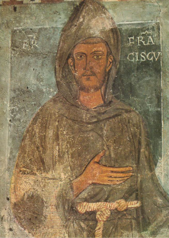 The oldest surviving depiction of Saint Francis is a fresco near the entrance of the Benedictine abbey of Subiaco, painted between March 1228 and March 1229.  He is depicted without the stigmata, but the image is a religious image and not a portrait.