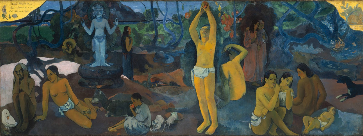Where Do We Come From? What Are We? Where Are We Going?, 1897,  Paul Gauguin oil on canvas, 139 × 375 cm (55 × 148 in), Boston Museum of Fine Arts, Boston, MA  Some inspiration for a bit of soul-searching.