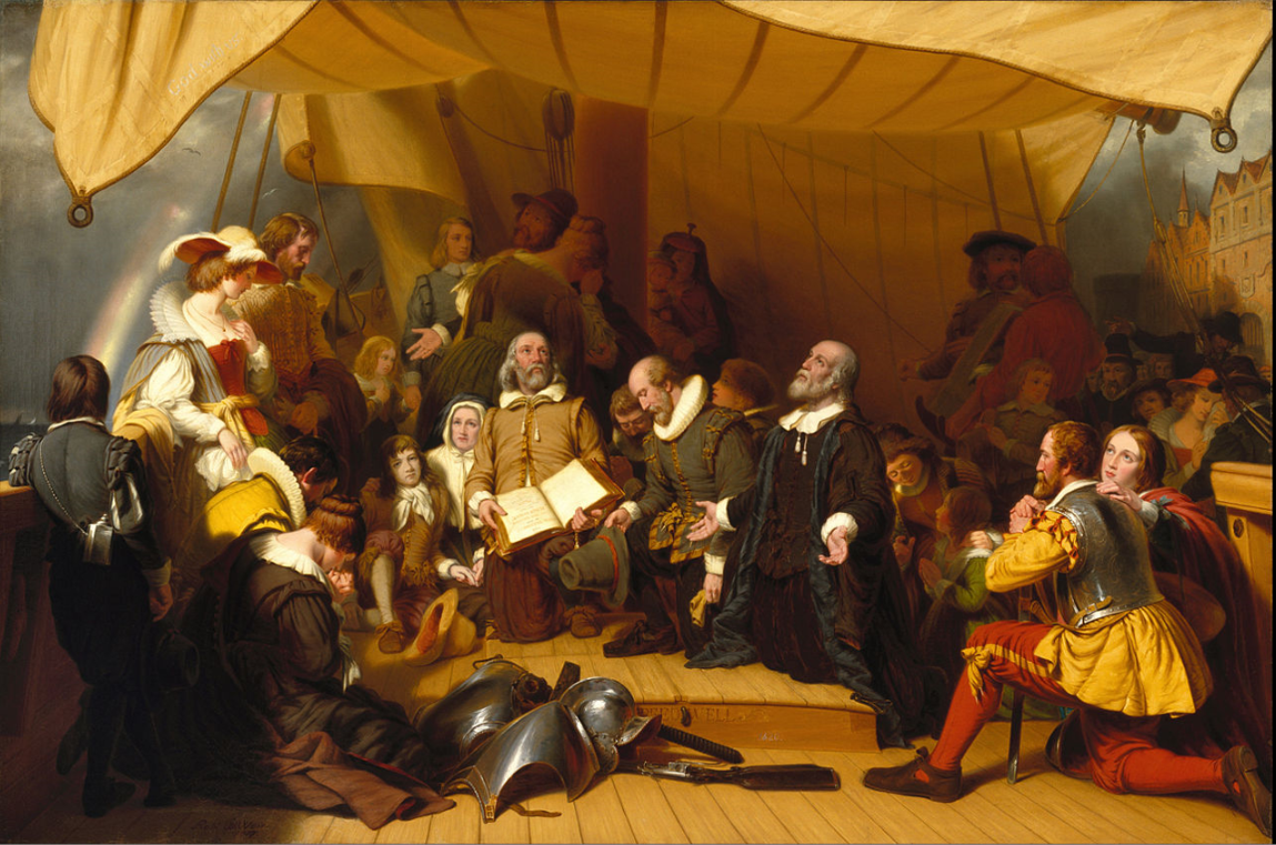 The Embarkation of the Pilgrims (1857) by American painter Robert Walter Weir at the United States Capitol in Washington, DC Robert Walter Weir - PwHe6-AEvwmbIw at Google Cultural Institute maximum zoom level.  The Pilgrims or Pilgrim Fathers were the first English settlers of the Plymouth Colony in Plymouth, Massachusetts.  Their leadership came from the religious congregations of Brownist Puritans who had fled the volatile political environment in England for the relative calm and tolerance of 17th-century Holland in the Netherlands.  They held Puritan Calvinist religious beliefs but, unlike other Puritans, they maintained that their congregations needed to be separated from the English state church.  They were also concerned that they might lose their cultural identity if they remained in the Netherlands, so they arranged with investors to establish a new colony in America.  The colony was established in 1620 and became the second successful English settlement in America, following the founding of Jamestown, Virginia in 1607.  The Pilgrims' story became a central theme in the history and culture of the United States.
