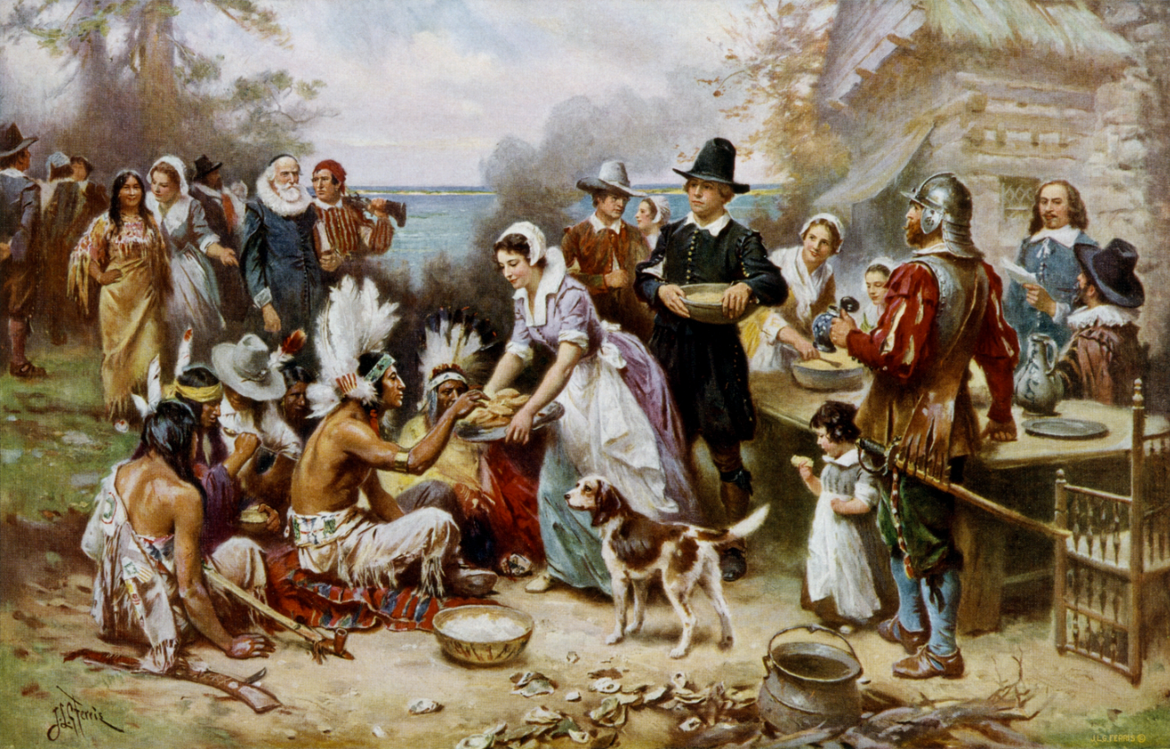 File:The First Thanksgiving cph.3g04961.jpg  This neighborliness is how we envisioned the First Thanksgiving as grammar school students. It's probably not so far from the reality. At least, that first celebration. Relations became dicey.