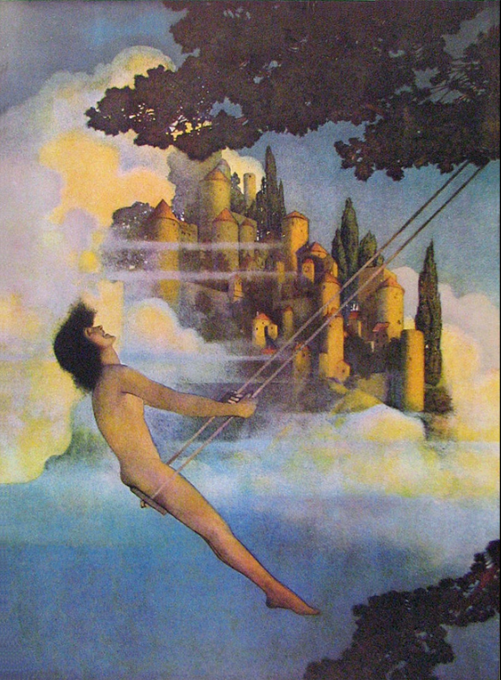 """The Dinky Bird"" by Maxfield Parrish, one of eight color plates from the 1904 Eugene Field collection Poems of Childhood Maxfield Parrish"