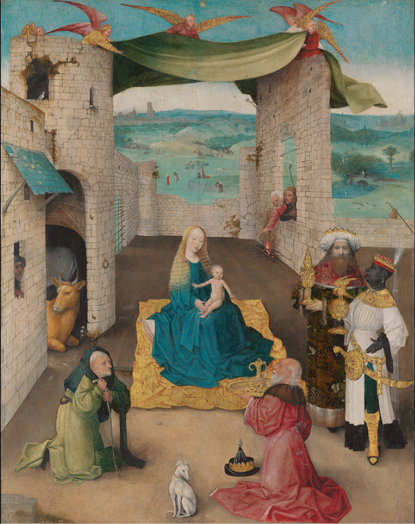 Menotti was inspired by  The Adoration of the Magi   (Hieronymus Bosch, died 1516)  to create  Amahl and the Night Visitors .