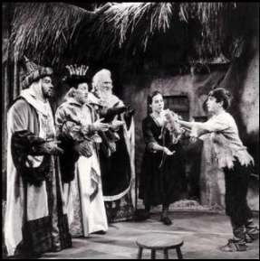 Willis Patterson, John McCollum, Richard Cross as the Three Kings, with Kurt Yaghjian as Amahl and Martha King as his mother in the 1963 production. Source: Promotional photo and historically significant photo of Amahl and the Night Visitors 1963