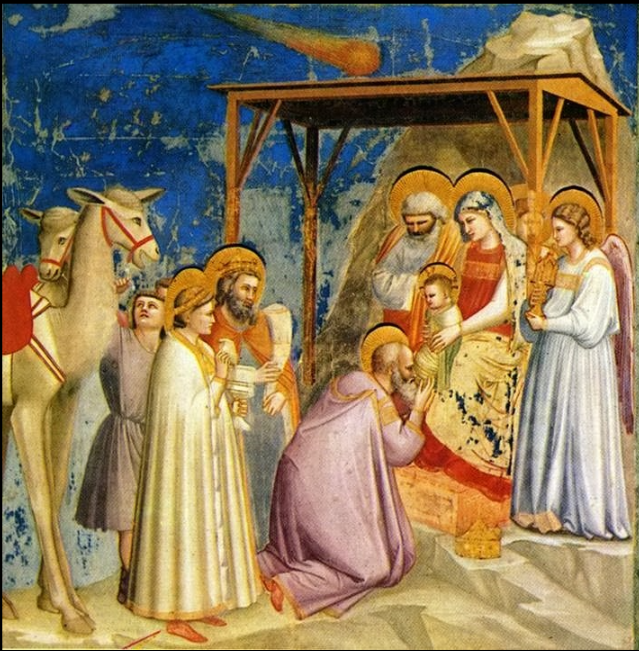 Adoration of the Magi by Florentine painter Giotto di Bondone (1267–1337).  The Star of Bethlehem is shown as a comet above the child.  Giotto witnessed an appearance of Halley's Comet in 1301.