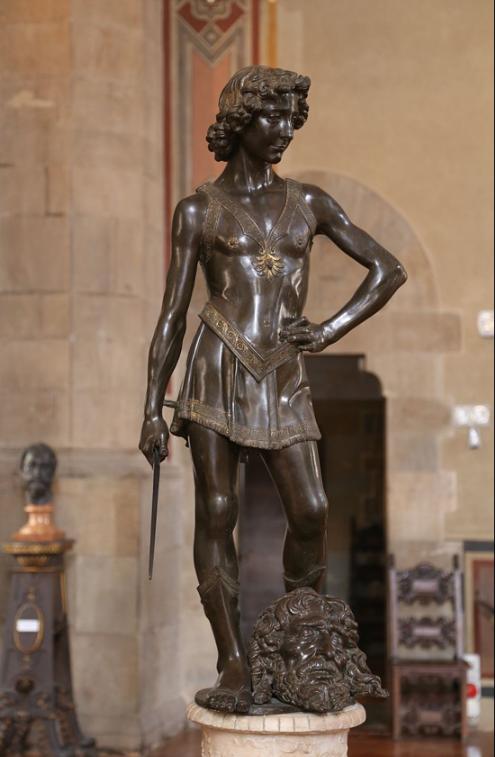 Verocchio's bronze David , 1473/1475, a wistful adolescent.  Verrocchio's David  was commissioned by the Medici family, and popular legend states that the model for the statue was a young artist from Verrocchio's studio, Leonardo da Vinci.