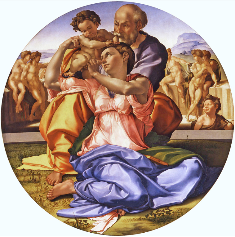 The Doni Tondo or Doni Madonna, is the only finished panel painting by the mature Michelangelo to survive. Now in the Uffizi in Florence, Italy, and still in its original frame.  The painting is in the form of a tondo, meaning in Italian, 'round', a shape which is frequently associated during the Renaissance with domestic ideas.