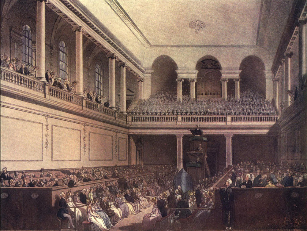 """The Foundling Hospital"" in The Microcosm of London or London in Miniature, Volume II, London: Methuen and Company, pp. Plate 37 Retrieved on 13 July 2011.  Thomas Rowlandson (1756–1827) and Augustus Charles Pugin (1762–1832) (after) John Bluck (fl. 1791–1819), Joseph Constantine Stadler (fl. 1780–1812), Thomas Sutherland (1785–1838), J. Hill, and Harraden (aquatint engravers)- Pyne, William Henry; Combe, William (1904) [1809]"