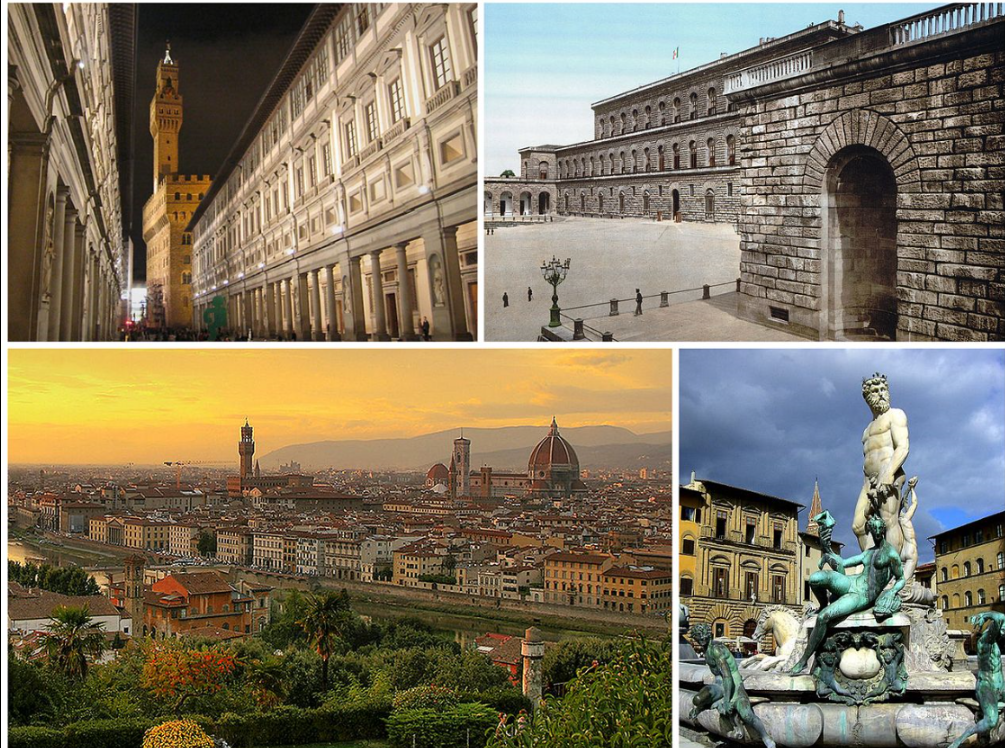 Top left is the Uffizi Top right: Don't know what this is. Ooops. Bottom left is Florence with the great Duomo on the horizon and bottom right is the Fountain of Neptune, by Bartolommeo Ammanati located in the central Piazza della Signoria