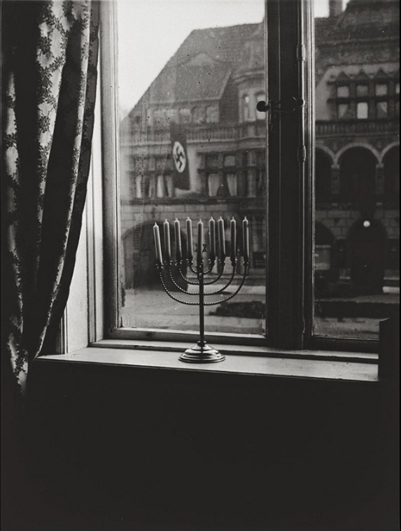Chanukah Menorah opposite Nazi building in Berlin, December 1932.