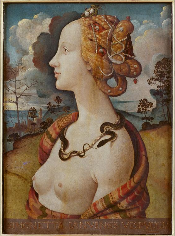 Portrait of a woman, said to be of Simonetta Vespucci (c. 1490)  by Piero di Cosimo  Born: 1453 Genoa or Portovenere, Liguria, Italy  Died: 26 April 1476 (aged 22–23) Florence, Italy