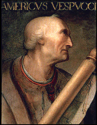 Portrait of Amerigo Vespucci (1454-1512).  Possibly painted by Cristofano dell'Altissimo on the basis of an unknown original, although its existence not attested until 1568. No.702 of the collection of Paolo Giovio at the Uffizi in Florence. America was named after Signore Vespucci.  For my money, his fame stems from his relationship to his cousin, Simonetta.