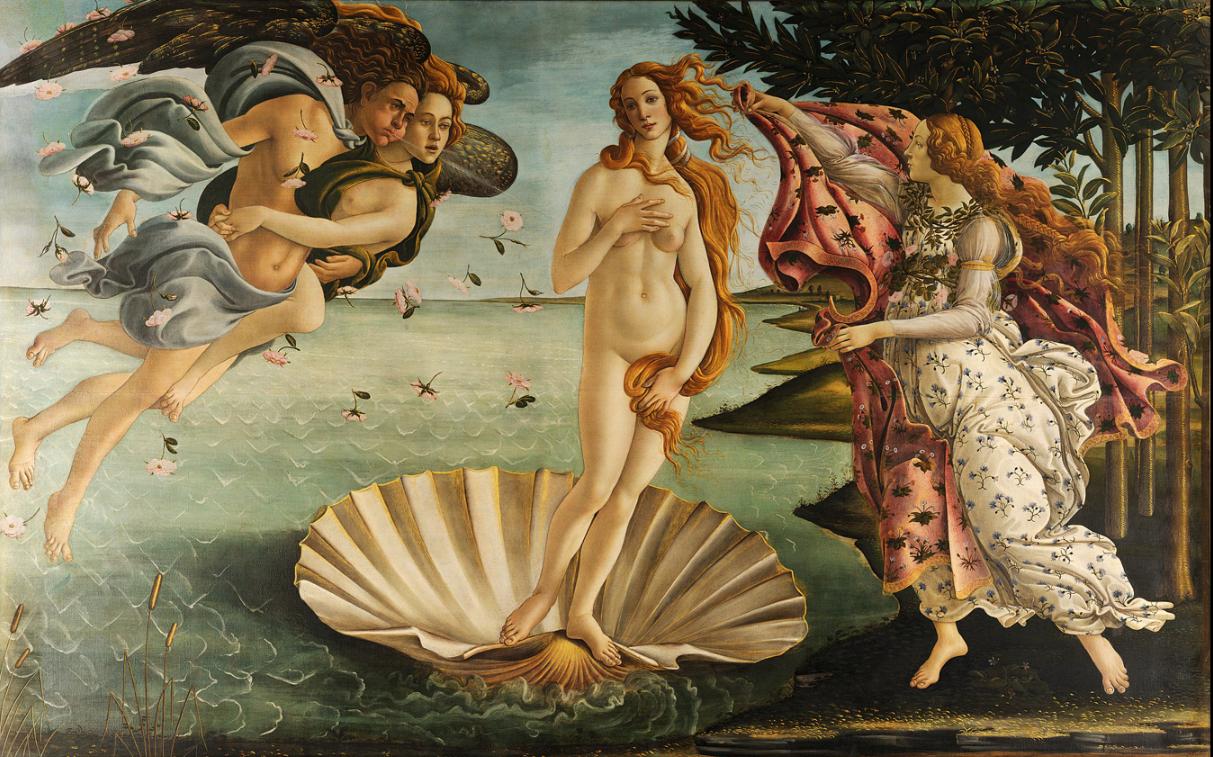 Sandro Botticelli, The Birth of Venus (c. 1484–86).  Tempera on canvas. 172.5 cm × 278.9 cm (67.9 in × 109.6 in).  Uffizi, Florence