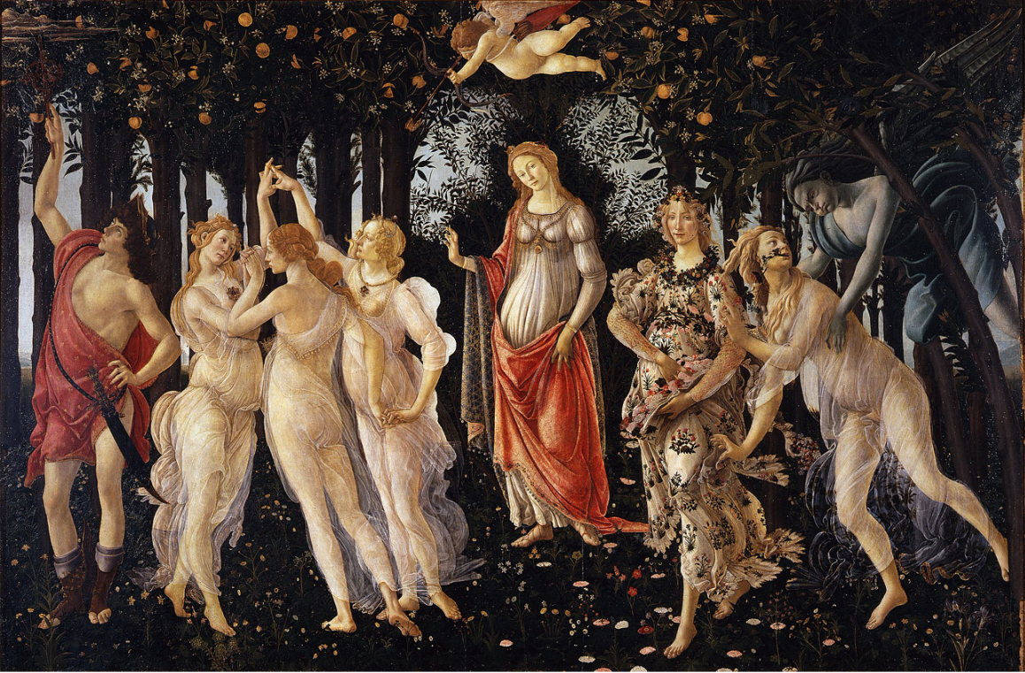Artist: Sandro Botticelli Year: late 1470s or early 1480s Medium: Tempera on panel Dimensions: 202 cm × 314 cm (80 in × 124 in) Location: Uffizi Gallery, Florence
