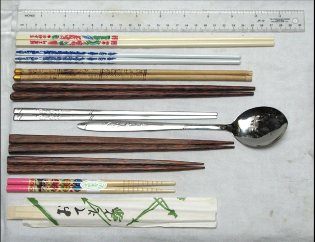 From top to bottom:  Taiwanese melamine chopsticks,  Chinese porcelain chopsticks,  Tibetan bamboo chopsticks,  Vietnamese palmwood chopsticks,  Korean stainless steel flat chopsticks with matching spoon,  Japanese couple's set (two pairs),  Japanese child's chopsticks, and  disposable wooden chopsticks (in paper wrapper)  FiveRings at English Wikipedia