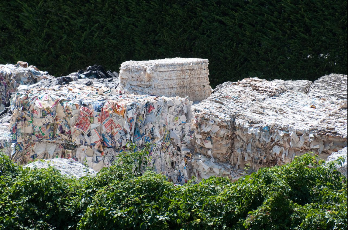 Waste paper collected for recycling in Italy