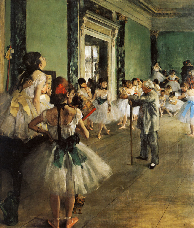 Classical bell tutus in The Dance Class by Degas, 1874