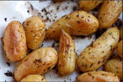 Roasted waxy potatoes