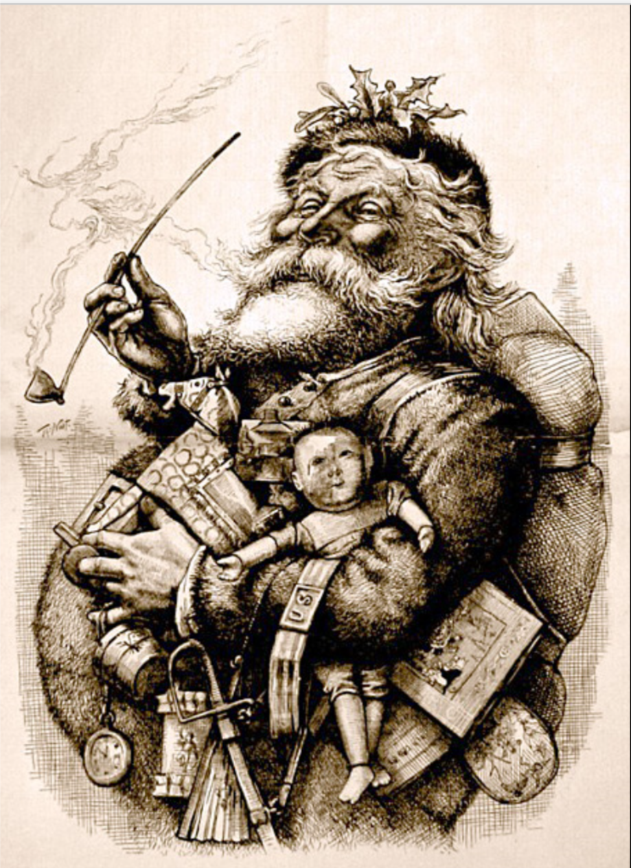 1881 illustration by  Thomas Nast  who, along with  Clement Clarke Moore's  poem   A Visit from St. Nicho   las  helped create the modern image of Santa Claus